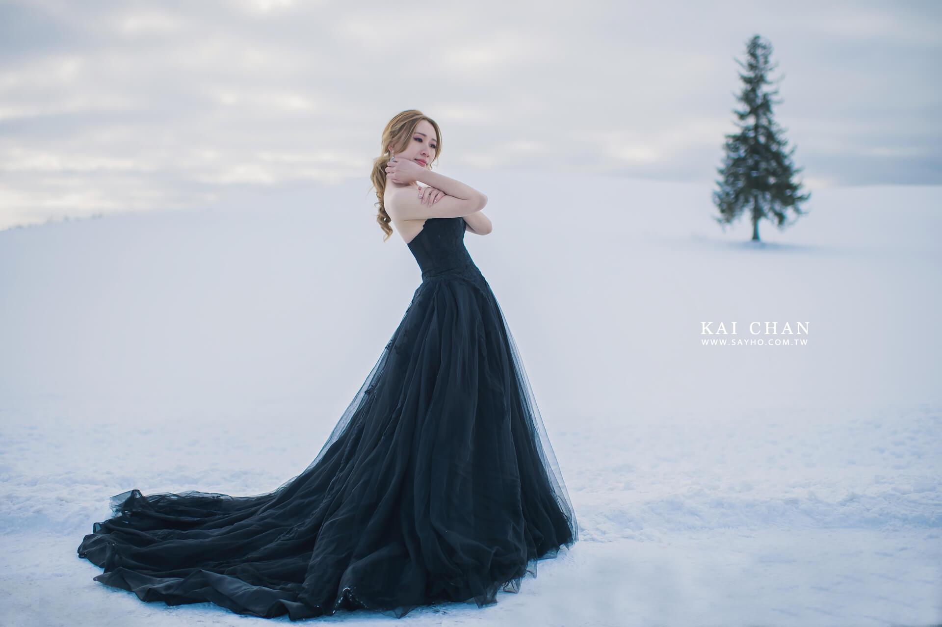北海道拍婚紗,美瑛聖誕樹,雪景婚紗