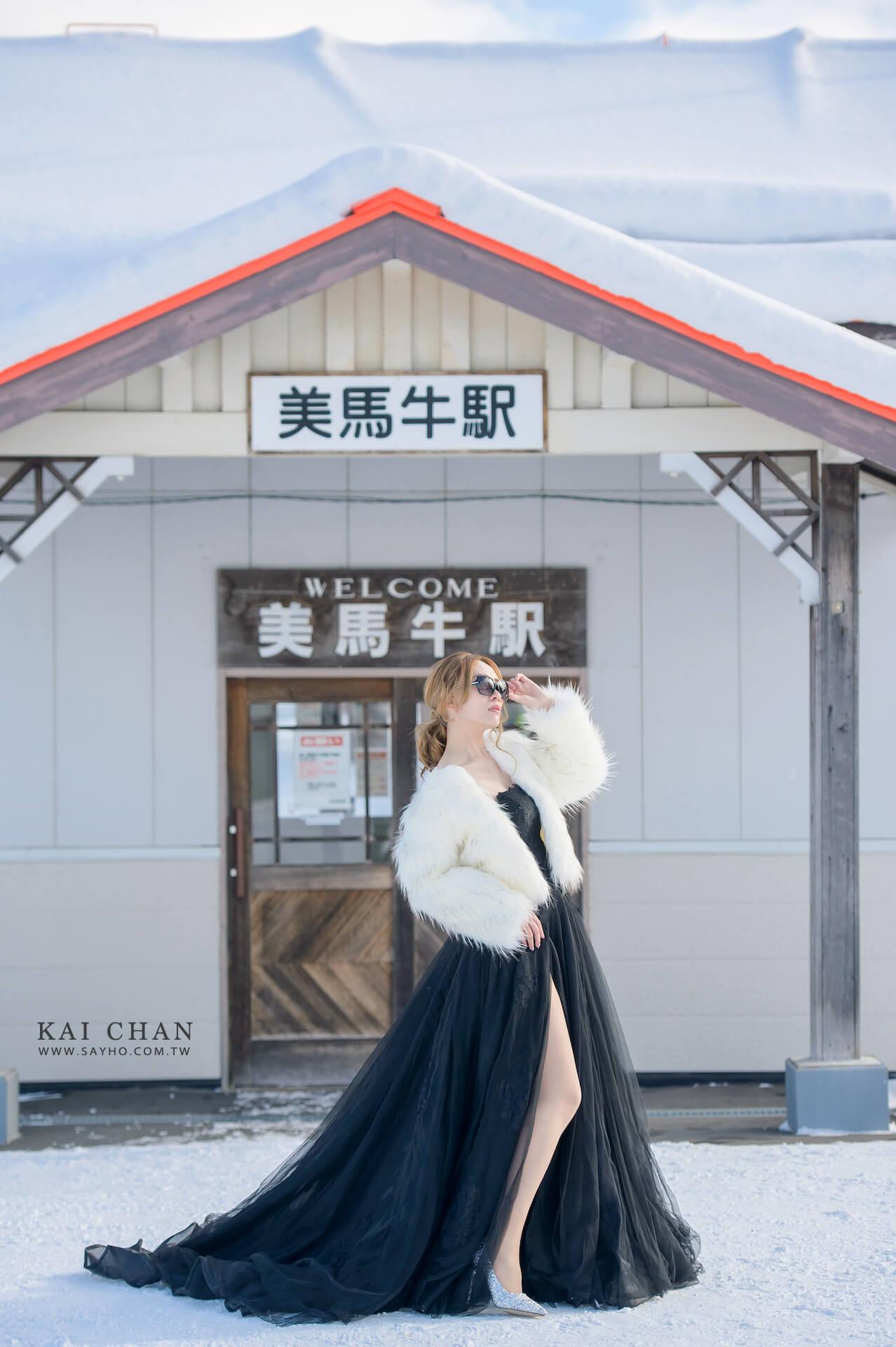 美瑛景點,美馬牛車站,北海道婚紗,雪景婚紗